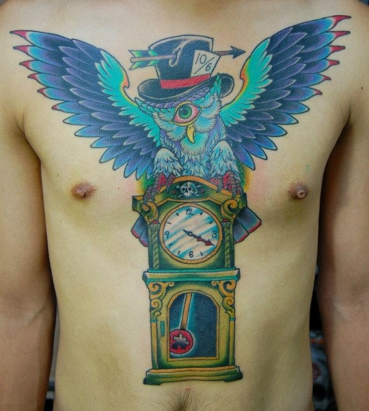Clock New School Chest Owl Belly Hat Tattoo by Illsynapse