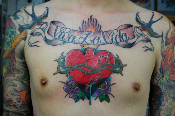 New School Chest Heart Lettering Sparrow Tattoo by Illsynapse