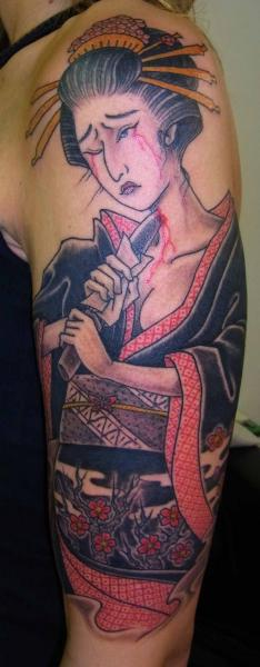 Schulter Arm Japanische Geisha Tattoo von Illsynapse