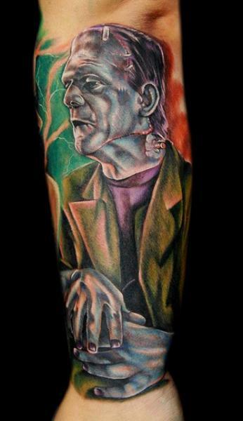 Arm Fantasy Frankenstein Tattoo by Cecil Porter