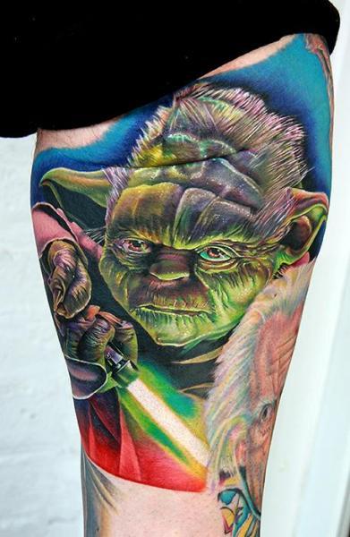 Arm Fantasy Yoda Tattoo by Cecil Porter