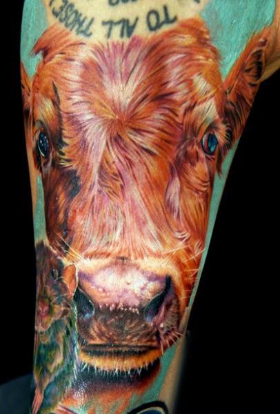 Arm Realistic Cow Tattoo by Cecil Porter