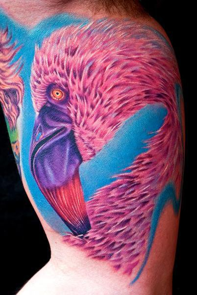 Arm Realistic Flamingo Tattoo by Cecil Porter