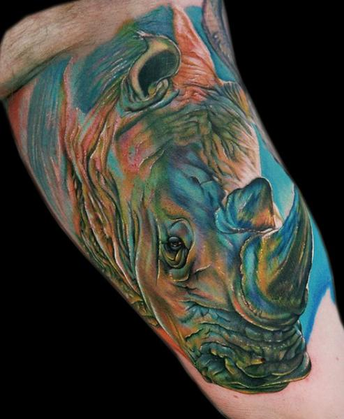 Arm Realistic Rhino Tattoo by Cecil Porter