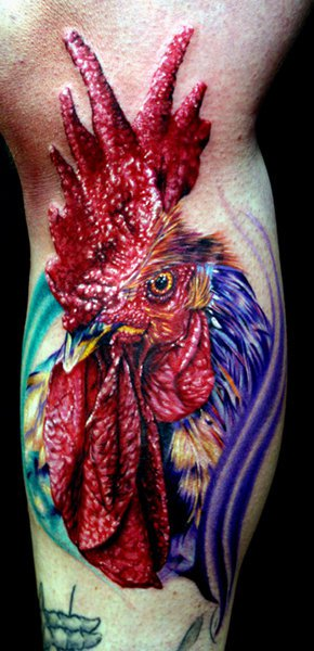 Arm Realistic Rooster Tattoo by Cecil Porter