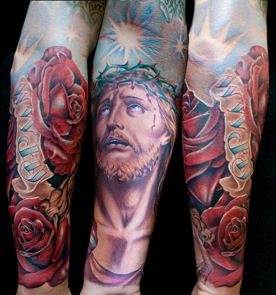 Arm Flower Religious Tattoo by Cecil Porter