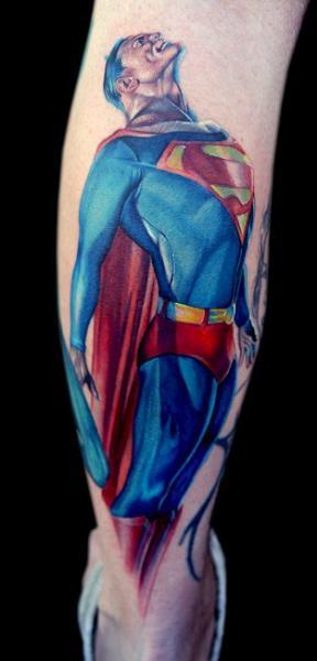Fantasy Calf Superman Tattoo by Cecil Porter