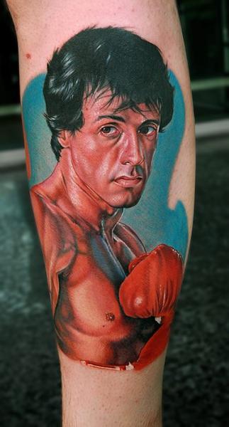 Porträt Realistische Waden Box Tattoo von Cecil Porter