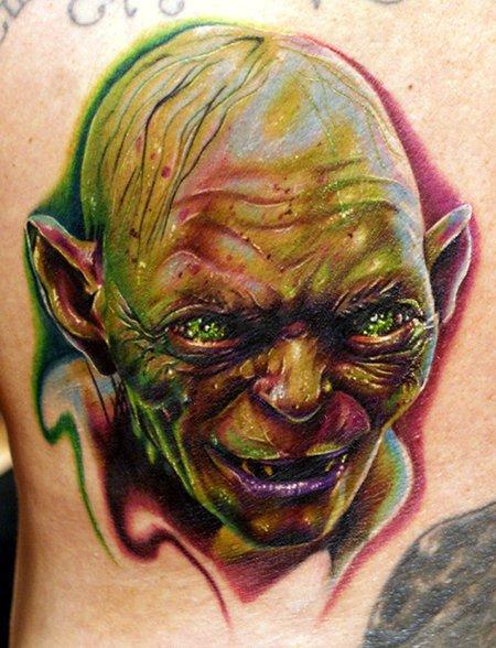 Fantasy Gollum Tattoo by Cecil Porter