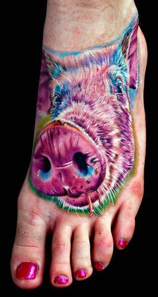 Fantasy Foot Pig Tattoo by Cecil Porter