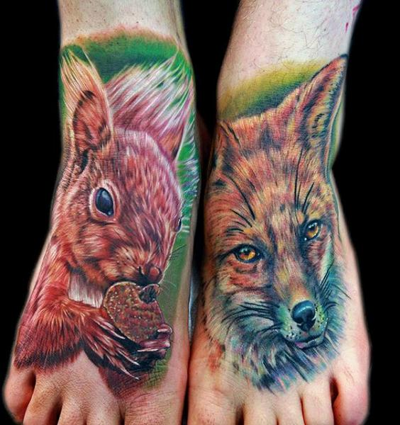 Realistic Foot Fox Squirrel Tattoo by Cecil Porter