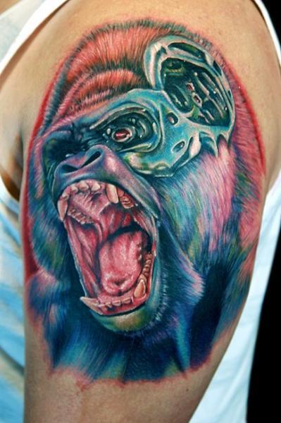 Tatuaggio Spalla Fantasy Gorilla di Cecil Porter
