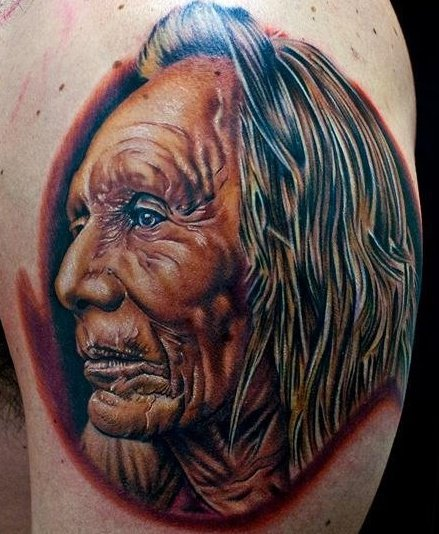 Shoulder Portrait Indian Tattoo by Cecil Porter