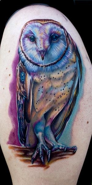 Shoulder Realistic Owl Tattoo by Cecil Porter