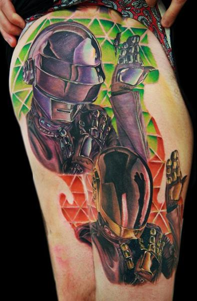 Fantasy Robot Thigh Tattoo by Cecil Porter
