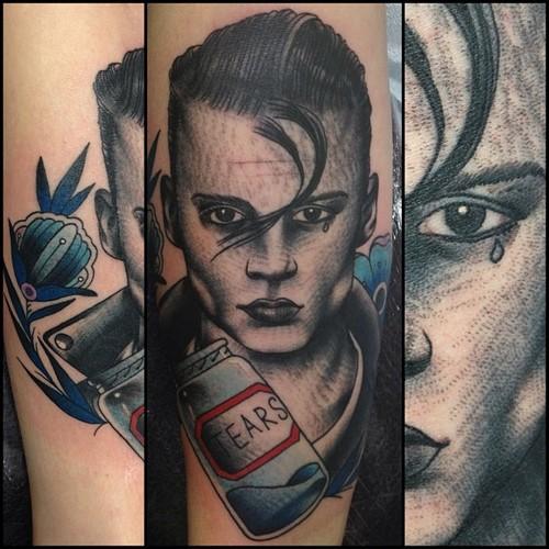 Arm Fantasie Porträt Tattoo von Nick Baldwin
