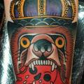 Arm New School Bear Crown tattoo by Nick Baldwin