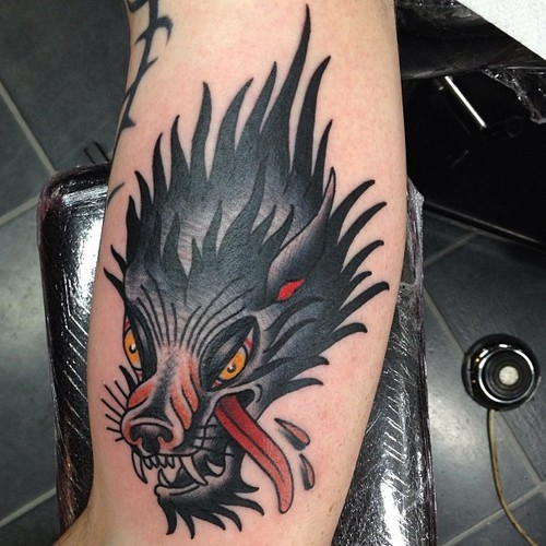 Arm Old School Wolf Tattoo by Nick Baldwin