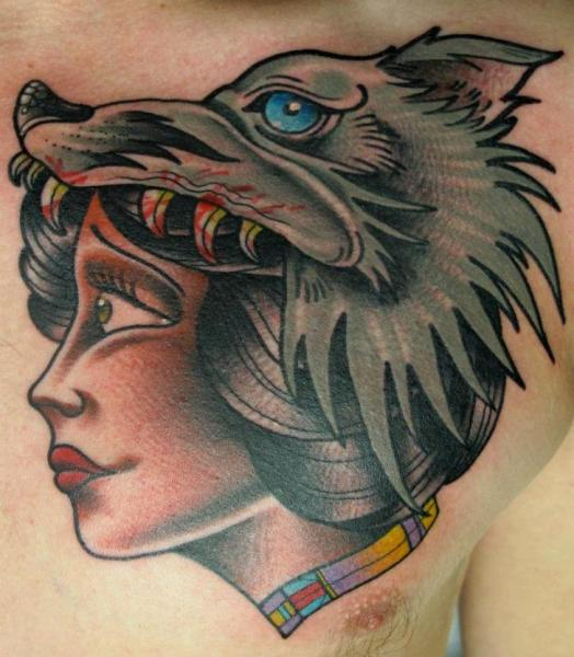 New School Chest Wolf Tattoo by Nick Baldwin