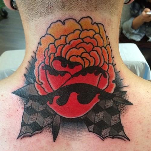 Fantasy Flower Neck Tattoo by Nick Baldwin