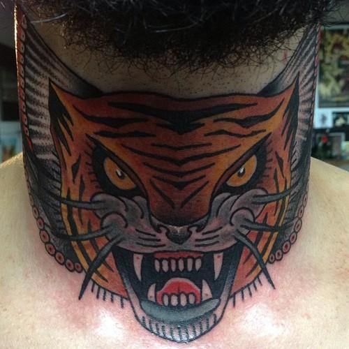 New School Neck Tiger Tattoo by Nick Baldwin