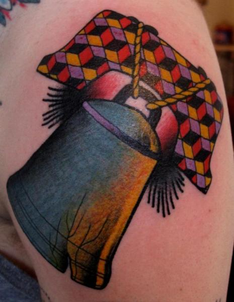 Shoulder New School Bell Tattoo by Nick Baldwin