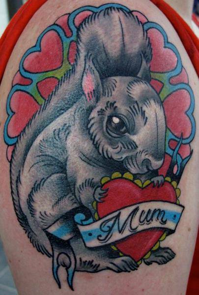 Shoulder New School Heart Rabbit Tattoo by Nick Baldwin