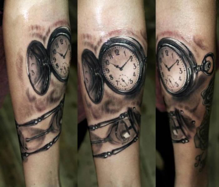 Arm Realistic Clock Tattoo by Georgi Kodzhabashev