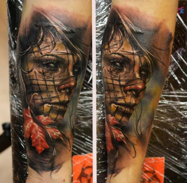 Arm Fantasy Women Leaf Tattoo by Bloodlines Gallery