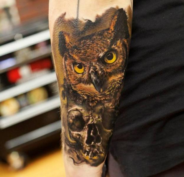 Arm Realistic Skull Owl Tattoo by Bloodlines Gallery