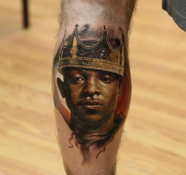 Portrait Realistic Calf Crown Tattoo by Bloodlines Gallery