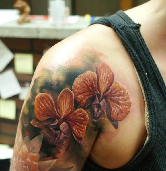Shoulder Realistic Flower Tattoo by Bloodlines Gallery