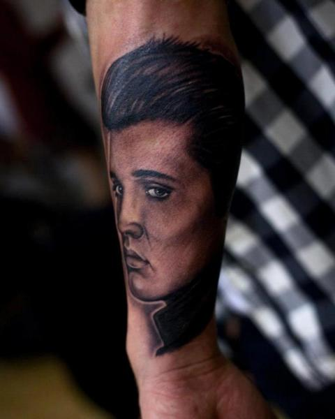 Arm Realistic Elvis Tattoo by Crazy Needle