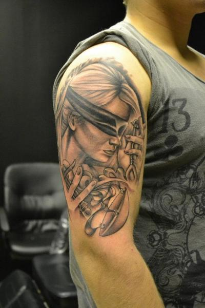 Shoulder Women Blind Tattoo by Crazy Needle