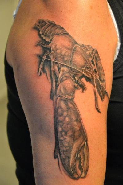 Shoulder Realistic Lobster Tattoo by Crazy Needle