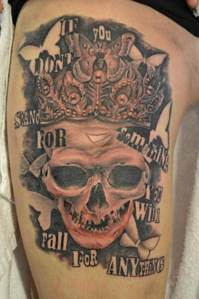 Lettering Skull Tattoo by Crazy Needle