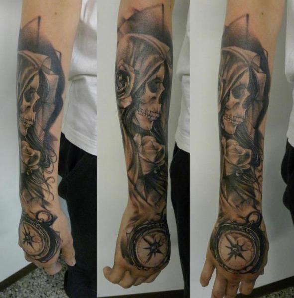 Arm Clock Flower Skull Hand Tattoo by Putka Tattoos
