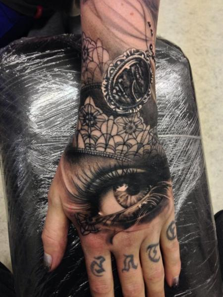 Arm Hand Eye Tattoo by Putka Tattoos
