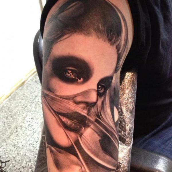 Shoulder Portrait Women Tattoo by Putka Tattoos