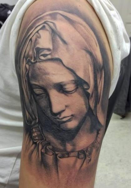Shoulder Religious Tattoo by Putka Tattoos