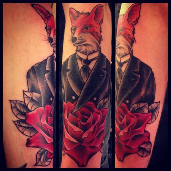 Arm Fantasy Old School Fox Tattoo by Sarah B Bolen