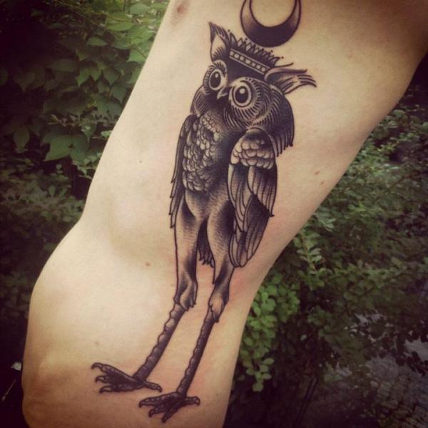 Arm Fantasy Old School Owl Rooster Tattoo by Sarah B Bolen