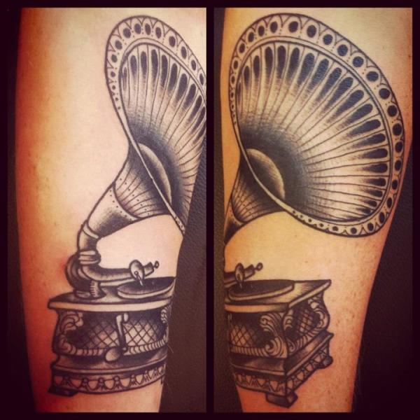 Arm Old School Gramophone Tattoo by Sarah B Bolen