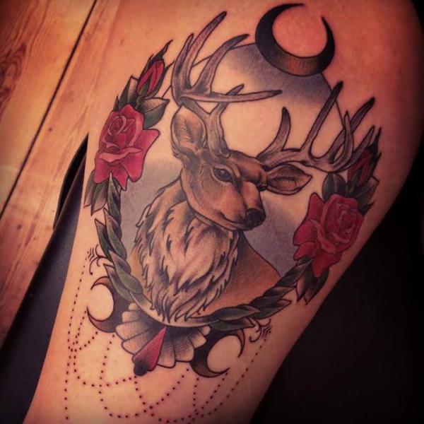 Waden Old School Reh Tattoo von Sarah B Bolen