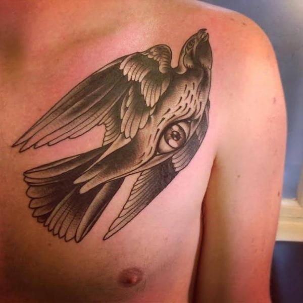 Brust Old School Auge Vogel Tattoo von Sarah B Bolen