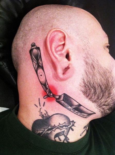 Old School Head Chin Razor Tattoo by Sarah B Bolen