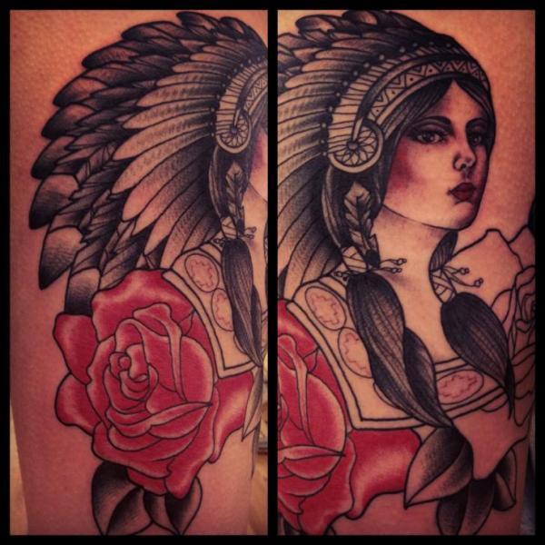 Old School Flower Indian Tattoo by Sarah B Bolen