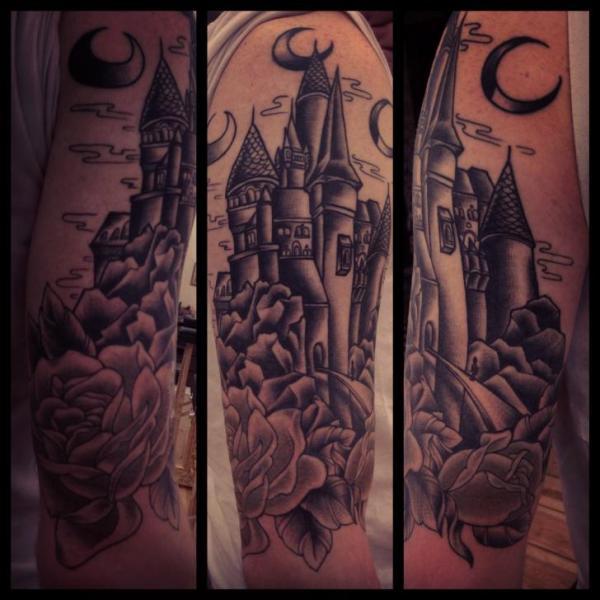 Shoulder Old School Flower Castle Tattoo by Sarah B Bolen