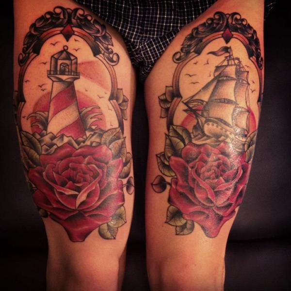 Lighthouse Old School Flower Galleon Medallion Thigh Tattoo by Sarah B Bolen