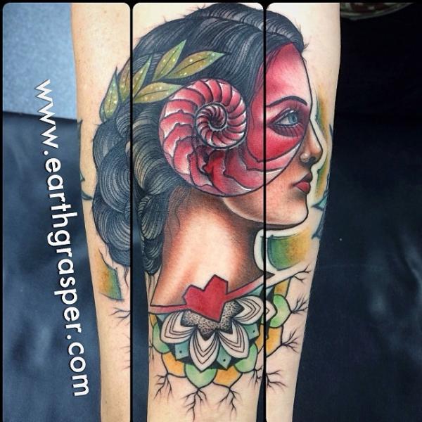 Arm Women Shell Abstract Tattoo by Earth Gasper Tattoo